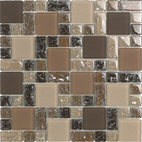 "Bellavita Glass Brillante Noce Mosaic Mixed Sizes 1"" x 1"", 2"" x 2"", 1"" x 2"""