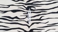 Genuine Stingray Skin - Solid Prints Finish in White with Black Tiger Stripes