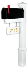 The Fitzgerald Vinyl / PVC Mailbox Post - White (Includes Mailbox)