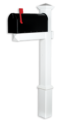 The Homestead Vinyl / PVC Mailbox Post - White (Includes Mailbox)