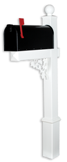 The Truman Vinyl / PVC Mailbox Post - White (Includes Mailbox)