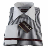 Luchiano Carreli White Black Red Stripe With Contrast Collar Dress Shirt