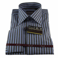 Luchiano Carreli Gray Blue Stripe Long Collar Dress Shirt