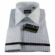 Luchiano Carreli Blue Checkered With Contrasting White Collar Dress Shirt