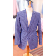 Men's Affazy Navy Blue Stripe Seersucker Suit