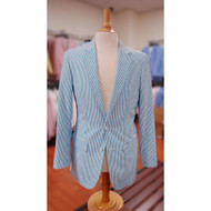Mens Turquoise White Stripe Seersucker 2 Button Notch Lapel Suit