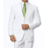 Mens White On White Stripe Seersucker 2 Button Notch Lapel Suit