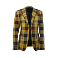 Biarelli Yellow Red Navy Blue Checkered Plaid 2 Button Blazer