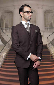 Tzalari Classic Brown 3PC 2 Button Suit Big and Tall