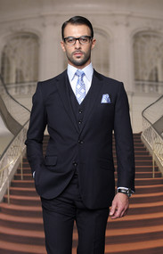 Tzalari Classic Navy Blue 3PC 2 Button Suit Big and Tall