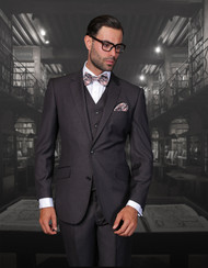 Tzalari Modern Heather Charcoal Gray 3PC 2 Button Suit Extra Long