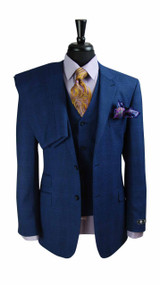 Luciano Carreli Couture Blue Purple Plaid Wool 3 Piece Suit (5508-BLUE)