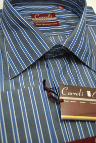 Carreli Blue With Blue White Stripe Long Collar Dress Shirt