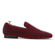 Travis Alexander Red Black Studded Velvet Loafer Shoes
