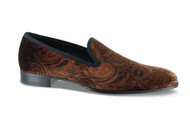Mezlan Rust Orange Paisley Velvet Slip-On Loafer (6434-2)