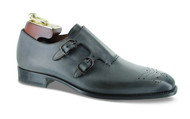 "Mezlan ""Gris"" Light Grey Double Mon-Strap Loafer Shoe (GRIS-6177)"