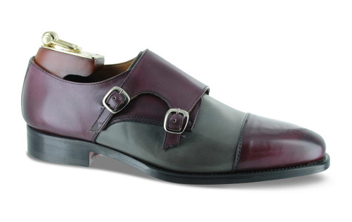 Emilio Franco Gray Purple Bordo Grape Double Monk-Strap Shoes
