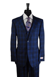 Tiglio Navy Blue Purple Checkered Plaid 3 Piece Suit (RS6308/2)