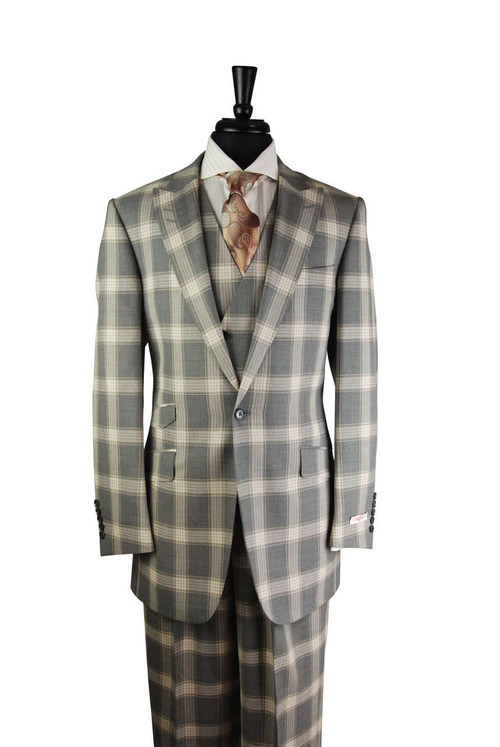 Tiglio Tan Taupe Grey Checkered Plaid 3 Piece Suit (RS6300/1)