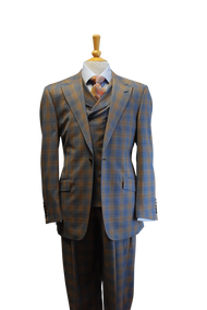 Tiglio Rosso Blue Orange San Giovesse Plaid 1 Button 3 Piece Suit