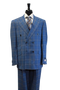 Tiglio Rosso Double Breasted Blue Tan Plaid 3 Piece Suit (74223/7)