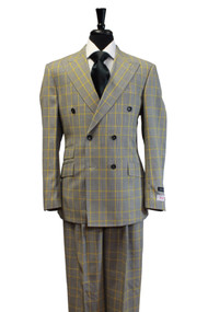Tiglio Rosso Double Breasted Black White Yellow Prince of Whales Suit (404158/1)