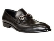 CARRUCCI BLACK SILVER BUCKLE LOAFER SHOES (478-02-BLACK)
