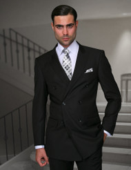 Tzalari Black Double Breasted Suit (TDZ-100-BLACK)