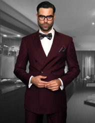TZALARI BURGUNDY DOUBLE BREASTED SUIT (TDZ-100-BURGUNDY)
