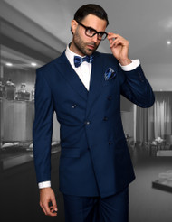 TZALARI INDIGO BLUE DOUBLE BREASTED SUIT (TDZ-100-INDIGO)