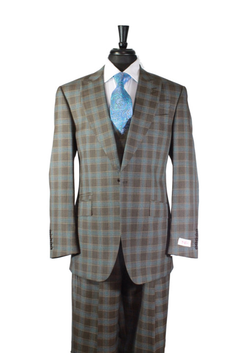 Tiglio Rosso Brown Teal Plaid Piece Suit (92209/2)
