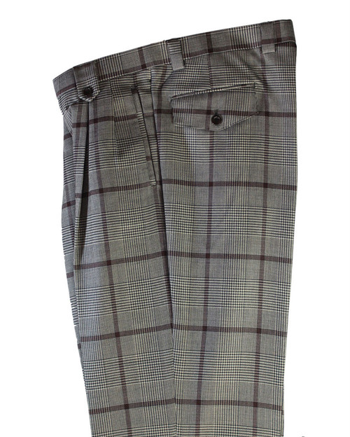 Tiglio Black White Plaid Burgundy Windowpane Wide Leg Pants/Slacks