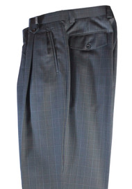 Tiglio Blue Brown Plaid Wide Leg Pants/Slacks (FT1290/1)