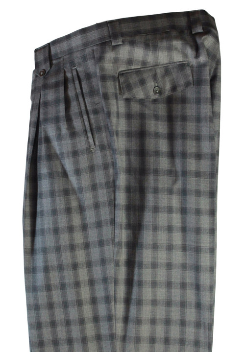Tiglio Grey Black Checkered Wide Leg Pants/Slacks (FT1303/2)