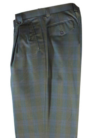 Tiglio Green Purple Plaid Checkered Wide Leg Pants/Slacks (RF1020/5)