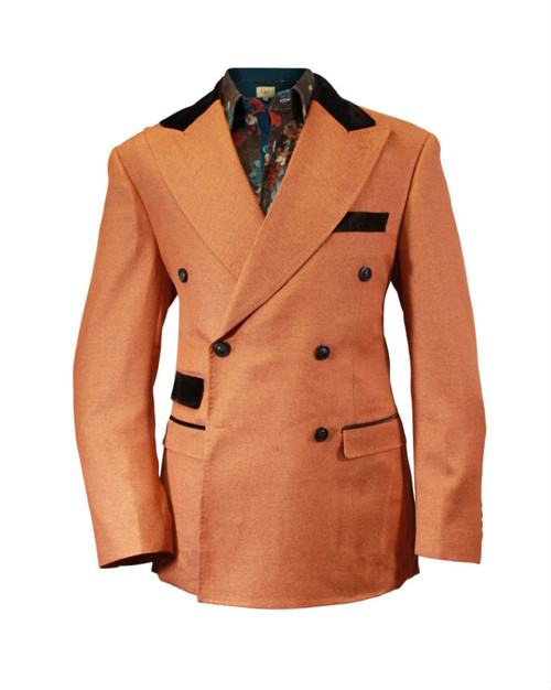 Cigar Couture Rust Brown Double Breasted Blazer (J-1886-RUST)