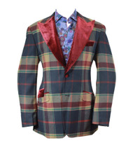 Cigar Couture Burgundy Blue Green Plaid Single Breasted Blazer (J-1881-BURGUNDY)