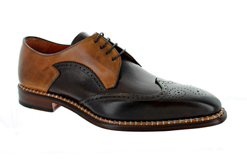Emilio Franco Brown Cognac Wing Tip Shoes (GOLD-T.MORO)