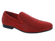Moretti Red Rhinestone Loafers (M31330-RED)
