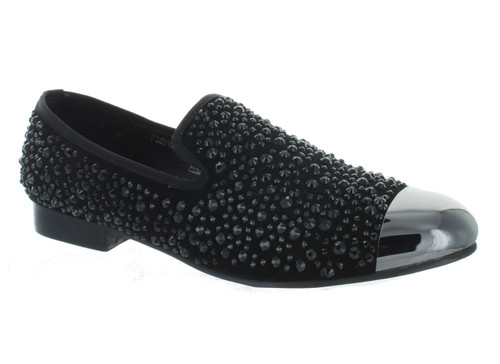 Fiesso Black Rhinestone Gun Metal Tip Slip on Loafer (FI6918-BLACK)