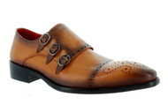 Encore Tan Brown Burnish Toe Tripple Monk-Strap Loafer (FI8703-TAN)