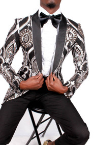 BLACK WHITE GOLD PAISLEY SHAWL LAPEL JACKET