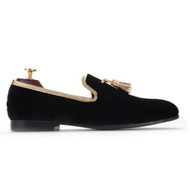 Travis Alexander Black Gold Tassle Velvet Loafer Shoes