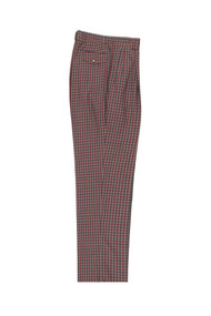 Tiglio Tan Gray Red Check Wide Leg Pants/Slacks (74274/12)