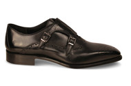 Emilio Franco Black Monk Strap Wingtip Shoes