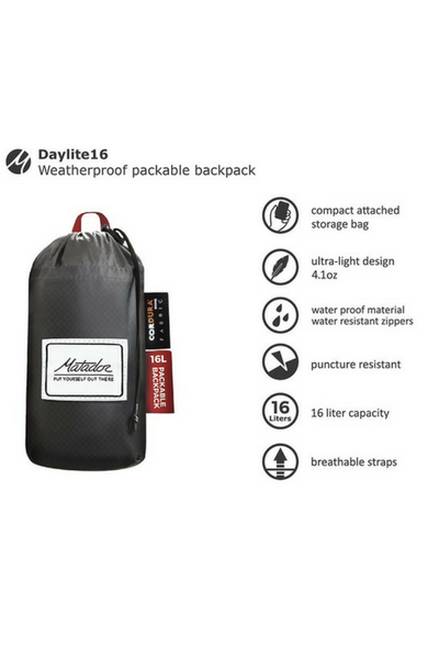 he Daylite16 features two water resistant zipper compartments and 2 side pockets.  Interior 16 liter capacity.