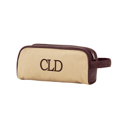 Tan Dawson Toiletry Bag for Men Brown Thread Classic Monogram