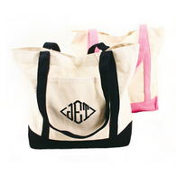 "Monogram Canvas Tote  wtih Front Pocket - 12.5"" x 15"" - Black & Pink"