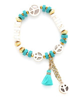 """Groovy """"Peace"""" Sign Band - Turquoise & White Peace Sign"""