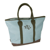 "Ascot Monogrammed Tote with Zip Closure & Padded Shoulder Strap -  21"" x 14' - Green, Blue & Pumpkin Orange"